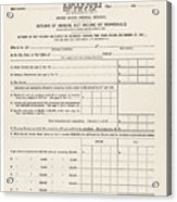 1913 Federal Income Tax 1040 Form. The Acrylic Print by Everett