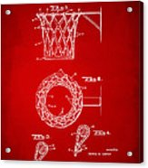 1951 Basketball Net Patent Artwork - Red Acrylic Print by Nikki Marie Smith
