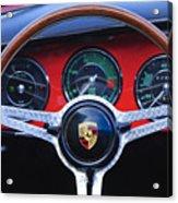 1964 Porsche C Steering Wheel Acrylic Print by Jill Reger