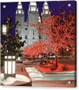 Christmas Lights At Temple Square Acrylic Print by Utah Images