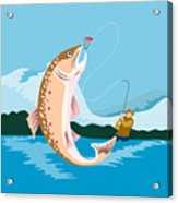 Fly Fisherman Catching Trout Acrylic Print by Aloysius Patrimonio