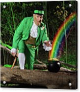 Leprechaun With Pot Of Gold Acrylic Print by Oleksiy Maksymenko