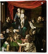 Madonna Of The Rosary Acrylic Print by Caravaggio