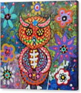 Owl Day Of The Dead Acrylic Print by Pristine Cartera Turkus