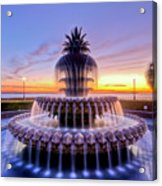 Pineapple Fountain Charleston Sc Sunrise Acrylic Print by Dustin K Ryan