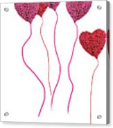 Pink Roses In Heart Shape Balloons  Acrylic Print by Michael Ledray