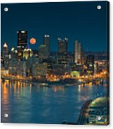 2011 Supermoon Over Pittsburgh Acrylic Print by Jennifer Grover