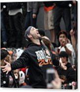 2012 San Francisco Giants World Series Champions Parade - Marco Scutaro - Dpp0008 Acrylic Print by Wingsdomain Art and Photography