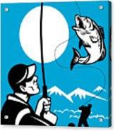 Largemouth Bass Fish And Fly Fisherman Acrylic Print by Aloysius Patrimonio