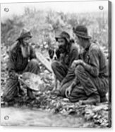 3 Men And A Dog Panning For Gold C. 1889 Acrylic Print by Daniel Hagerman
