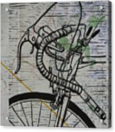 Bike 2 On Map Acrylic Print by William Cauthern