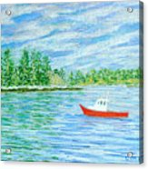 Maine Lobster Boat Acrylic Print by Collette Hurst
