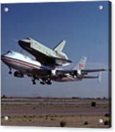 747 Takes Off With Space Shuttle Enterprise For Alt-1 Acrylic Print by Brian Lockett