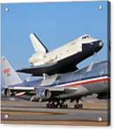 747 Takes Off With Space Shuttle Enterprise For Alt-4 Acrylic Print by Brian Lockett