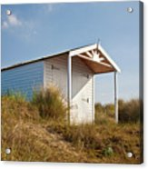 A Beach Hut In The Marram Grass At Old Hunstanton North Norfolk Acrylic Print by John Edwards