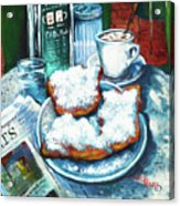 A Beignet Morning Acrylic Print by Dianne Parks