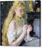 A Girl Crocheting Acrylic Print by Pierre Auguste Renoir