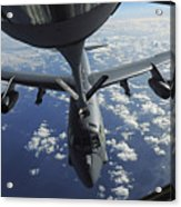 A Kc-135 Stratotanker Aircraft Refuels Acrylic Print by Stocktrek Images