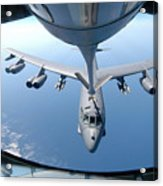 A Kc-135 Stratotanker Refuels A B-52 Acrylic Print by Stocktrek Images