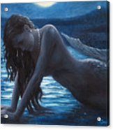 A Mermaid In The Moonlight - Love Is Mystery Acrylic Print by Marco Busoni