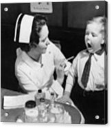 A Nurse Examining The Teeth Of A Boy Acrylic Print by Everett