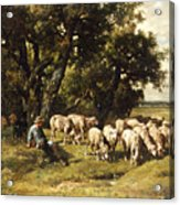 A Shepherd And His Flock Acrylic Print by Charles Emile Jacques