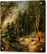 A Shepherd With His Flock In A Woody Landscape Acrylic Print by Rubens