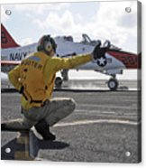 A Shooter Launches A T-45 Goshawk Acrylic Print by Stocktrek Images