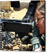 A Soldier Fires An M240b Medium Machine Acrylic Print by Stocktrek Images