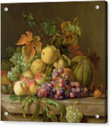 A Still Life Of Melons Grapes And Peaches On A Ledge Acrylic Print by Jakob Bogdani
