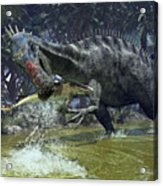 A Suchomimus Snags A Shark From A Lush Acrylic Print by Walter Myers