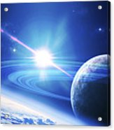 A View Of A Planet As It Looms In Close Acrylic Print by Kevin Lafin