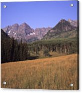 A View Of The Maroon Bells Mountains Acrylic Print by Taylor S. Kennedy