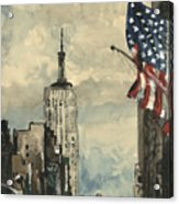 A Watercolor Sketch Of New York Acrylic Print by Dirk Dzimirsky