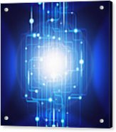 Abstract Circuit Board Lighting Effect  Acrylic Print by Setsiri Silapasuwanchai