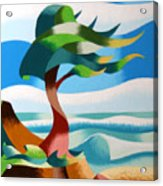 Abstract Rough Futurist Cypress Tree Acrylic Print by Mark Webster