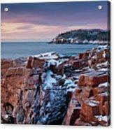 Acadian Cliffs Winter Sunrise 1 Acrylic Print by Susan Cole Kelly