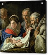 Adoration Of The Infant Jesus Acrylic Print by Stomer Matthias