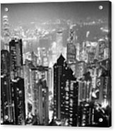Aerial View Of Hong Kong Island At Night From The Peak Hksar China Acrylic Print by Joe Fox