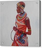 African Lady In Red Acrylic Print by Patrick Hunt