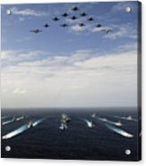 Aircraft Fly Over A Group Of U.s Acrylic Print by Stocktrek Images
