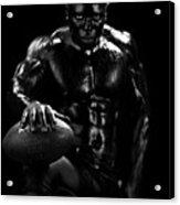 Al Fotball Black And White 1 Acrylic Print by Val Black Russian Tourchin