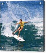 Alana Blanchard Surfing Hawaii Acrylic Print by Paul Topp