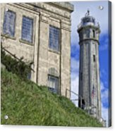 Alcatraz Cell House And Lighthouse Acrylic Print by Daniel Hagerman