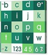Alphabet Green Acrylic Print by Michael Tompsett