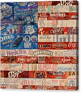American Flag - Made From Vintage Recycled Pop Culture Usa Paper Product Wrappers Acrylic Print by Design Turnpike