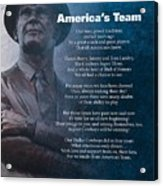 America's Team Poetry Art Acrylic Print by Stanley Mathis