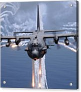 An Ac-130h Gunship Aircraft Jettisons Acrylic Print by Stocktrek Images