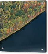 An Aerial View Of A Forest In Autumn Acrylic Print by Heather Perry