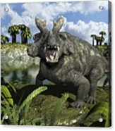 An Estemmenosuchus Mirabilis Stands Acrylic Print by Walter Myers